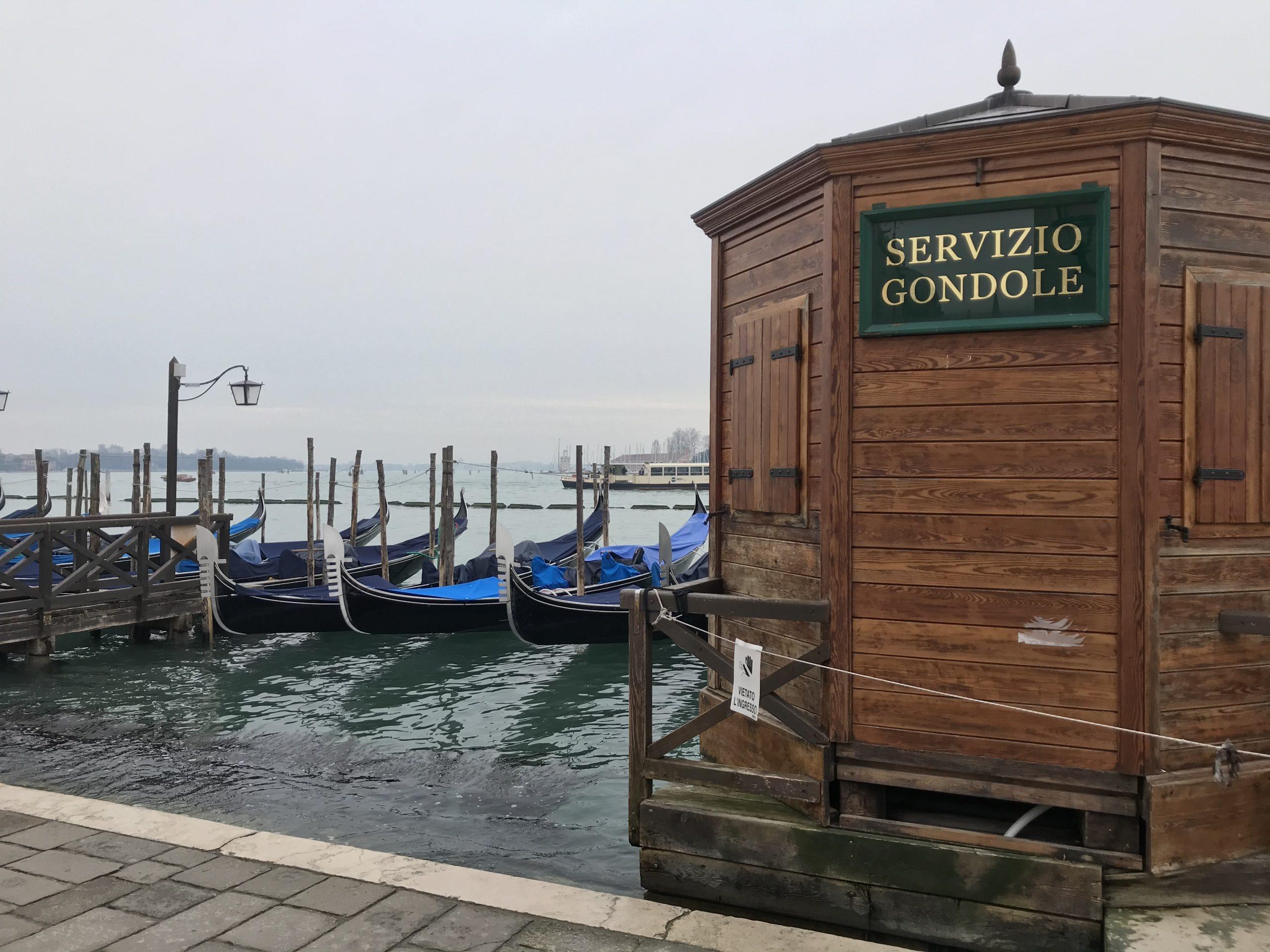 venetian gondolas without people