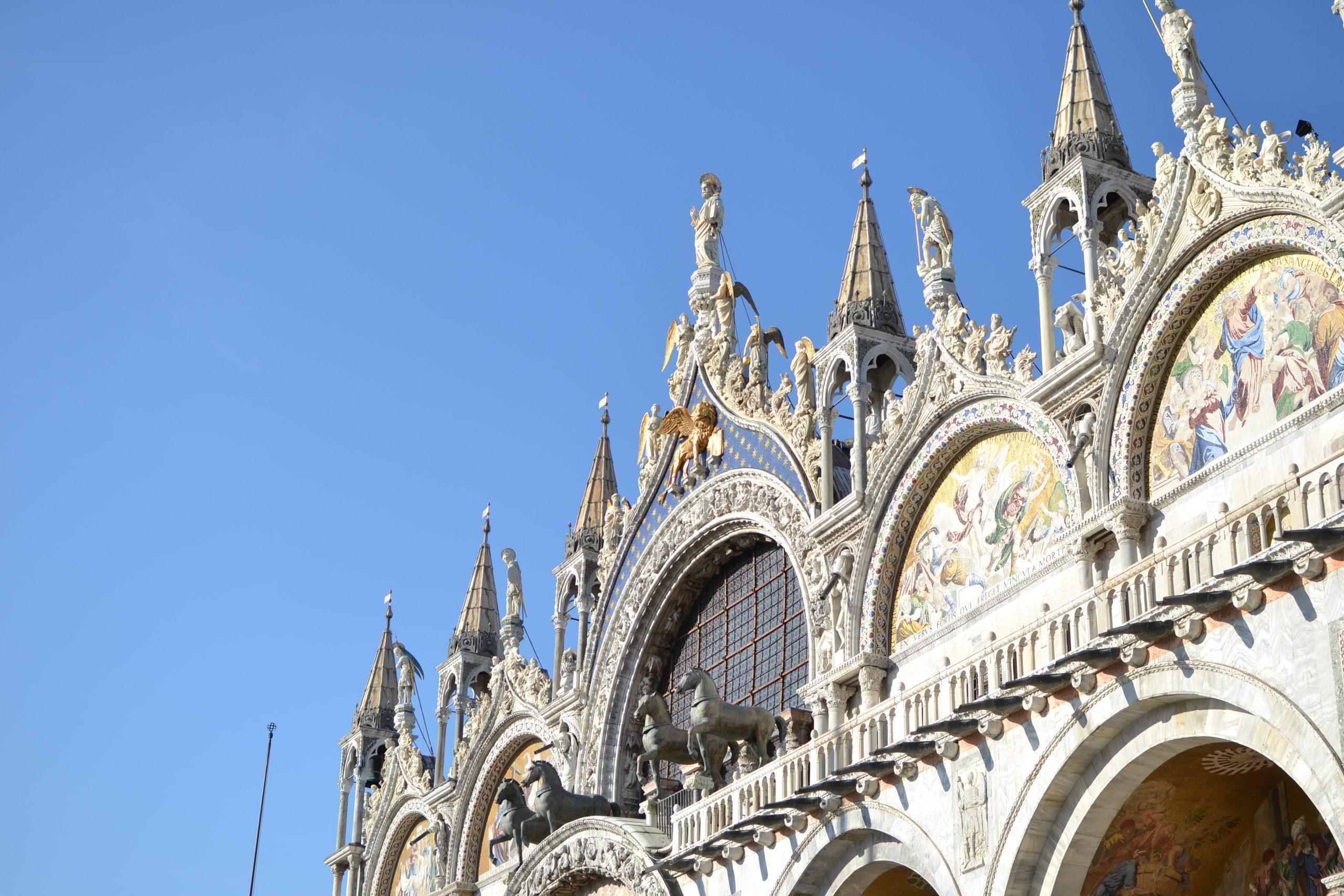 San marco basilica facade blue sky