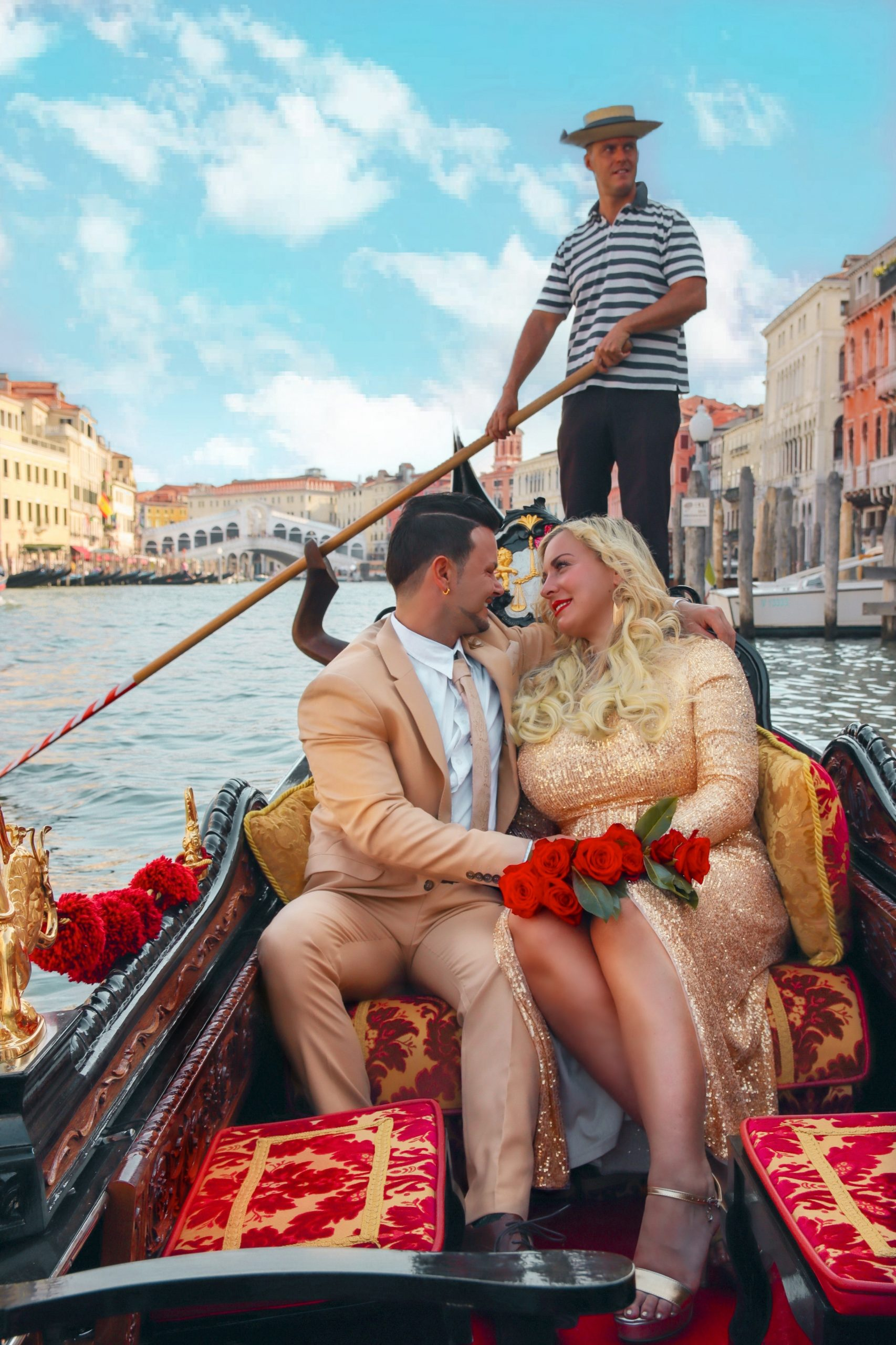 couple inside the gondola in Venice Italy
